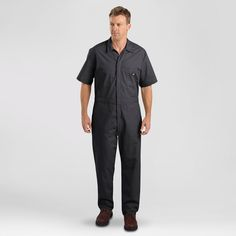 Dickies Men's Big & Tall Short Sleeve Coverall- Black M Tall