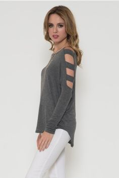Cut Out Shoulder Baby Rib Top