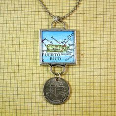 Puerto Rico Map and Coin Pendant Necklace by XOHandworks