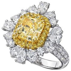 For Sale on - Fancy Yellow GIA Certified Carat Cut-Cornered Rectangular Diamond and clarity center stone. Surrounded by a row of carat of yellow diamonds Deco Engagement Ring, Rose Gold Engagement Ring, Diamond Wedding Rings, Vintage Engagement Rings, Beautiful Diamond Rings, Yellow Diamond Rings, Yellow Diamonds, Emerald Rings, Ruby Rings
