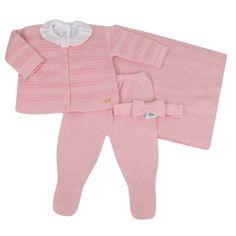 Conjunto Saída Maternidade Pérolas - Rosa - Verivê - Novo Bebe