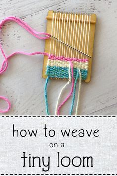 Free video series show you how to create your first project on the tiny loom, you can get a kit, too! Weaving Projects, Weaving Art, Tapestry Weaving, Hand Weaving, Art Projects, Yarn Crafts, Fabric Crafts, Fibre And Fabric, Hello Kitty Wallpaper