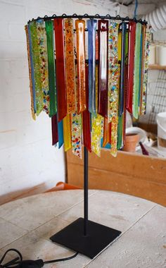 Hand made recycled glass chandeliers, floor lights and table lamps made in London Stained Glass Crafts, Stained Glass Lamps, Fused Glass Art, Mosaic Glass, Glass Painting Patterns, Image Glass, Glass Fusing Projects, Fused Glass Ornaments, Glass Wind Chimes