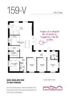 159 kvm vinkel-hus med gode, regulære rum til hele familien House Floor Plans, Exterior Design, Planer, Home Projects, Future House, Home And Family, Sweet Home, New Homes, Flooring