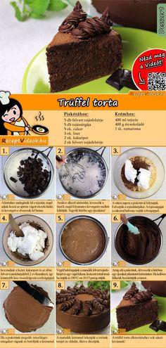 Csokoládé rummal bolondítva puha piskótalapok között… ez bizony a Trüffel torta! Könnyen elkészítheted otthon, csak csínján az alkohollal. A Trüffel torta recept videóját a kártyán levő QR kód segítségével bármikor megtalálod! :) #TrüffelTorta #Trüffel #ReceptVideók #Recept #Torta #Desszert #TortaRecept