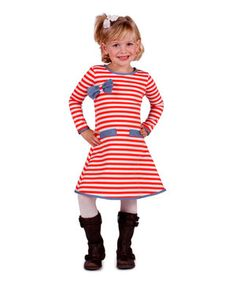This Orange & Crème Stripe A-Line Dress - Toddler & Girls by Mia Belle Baby is perfect! #zulilyfinds