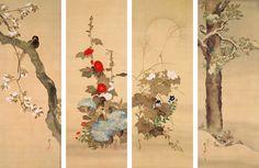 花鳥十二ヶ月図  酒井抱一(1761~1829) 12幅 江戸時代、文政6年(1823) 絹本着色 各138.9~140.2×49.3~50.5 酒井抱一は,花鳥図や草花図を得意とし,琳派芸術の再興を志して豊かな叙情性と装飾性を追求し,独自の画風を示した。彼の作品には数種類の花鳥十二ヶ月図が知られるが,その中でも本作品は,構図が整い,配色も鮮明な優品である。抱一62歳の作品と判る基準作としても貴重。
