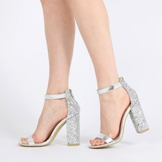 Juno Glitter Back Barely There Block Heels in Silver ($45)