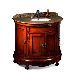 OVE Decors Victoria Light Cherry 36-in Undermount Single Sink Birch Bathroom Vanity with Granite Top