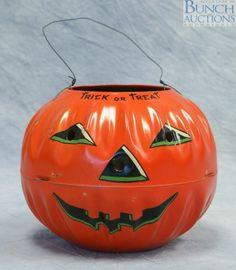 Vintage Halloween Candy Container ~ Metal Litho Jack O' Lantern * Circa, 1950's