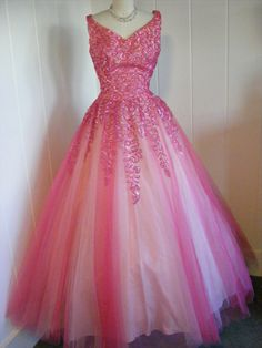 Emma Domb Fuschia full length tulle and satin gown