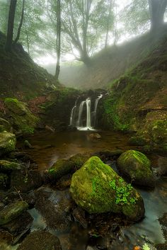 Belaustegi green forest at Gorbea Natural Park Beautiful Waterfalls, Beautiful Landscapes, Mother Earth, Mother Nature, Landscape Photography, Nature Photography, Beautiful World, Beautiful Places, Amazing Nature