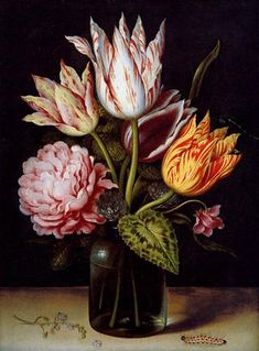 Ambrosius Bosschaert the Elder A Still Life With A Bouquet Of Tulips, A Rose, Clover And A Cylclamen In A Green Glass Bottle Oil Painting