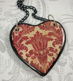 Red and Cream Brocade Heart Pendant Necklace by pzcreations22, $19.50