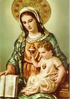 Jesus pointing to his Mother's Immaculate Heart and Mary holding the Bible.  Sacred Heart of Jesus, pray for us!