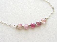 Blush Pink Tourmaline Necklace : Ombre Pink Necklace, Delicate Necklace, Petite Necklace,  Line Necklace, Tourmaline Jewelry on Etsy, $32.00