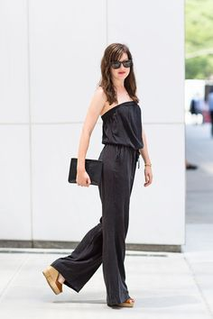 SHOP THE LOOK:  Joie Jumpsuit, $218; shopbop.com  Westward Leaning Sunglasses, $210; westwardleaning.com  Commes des Garcons Clutch, $225; barneys.com   Topshop Espadrilles, $70; topshop.com