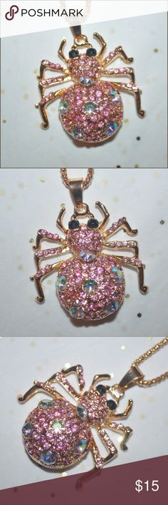 Gold Jeweled Spider Necklace brand new without tag - * SELLING THIS NECKLACE CHEAP DUE TO A LOOSE RHINESTONE * // tags: pink colors colorful color rhinestones rhinestone jewels jewel bold statements statement different fashion style cool awesome amazing large pendants pendant necklaces jewelry womens women girly girls girl animals animal fun flirty date night day flirt present gifts gift cute adorable unique shiny shiny sparkle sparkly chain goth gorgeous party casual chic pretty beauty…