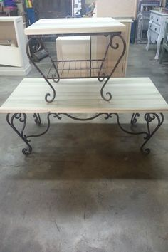 Wood top surfaces on custom wrought iron base