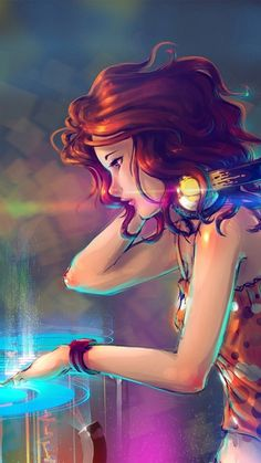 Watercolor woman Dj wallpaper. Girl, Dj, Watercolor, Lights, Colors, Paint, iPhone, Android, Background, HD, Sazum 2017.