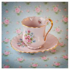 SALE 15% off Vintage rose porcelain footed tea cup and saucer