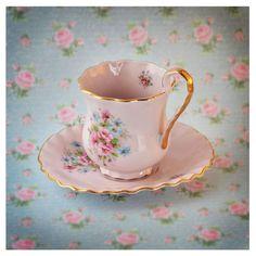 SALE 15% off Vintage rose porcelain footed tea cup and saucer