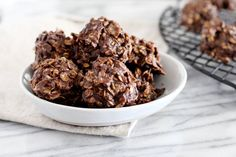 No-Bake Coconut Cookies Recipe -- Chewy, chocolatey No-Bake Coconut Cookies will satisfy your sweet tooth with no refined sugars, gluten or dairy. So good you won't want to share them! Paleo Dessert, Dessert Recipes, Gluten Free Baking, Gluten Free Desserts, No Bake Coconut Cookies, Shortbread Cookies, Real Food Recipes, Cookie Recipes, Healthy Desserts