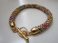 Multi colored kumihimo beaded bracelet with by CarolBeckDesigns