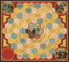 The Office Boy.   Salem, Massachusetts, 1889  Color lithograph game board