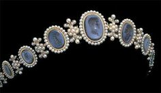 Empress Josephine's cameo and pearl tiara. The center cameo depicts Napoleon's profile.