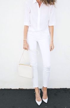 #whiteblouse #whitejeans #allwhite