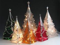 Stained glass patterns 3d christmas trees | ... Caldwell of Sunflower Glass Studio - Stained glass Chritsmas trees #diy #crafts