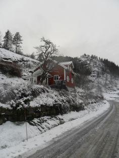 Snowy road in Flekkefjord. Winter in Norway. More photos: Wirtualna Norwegia pl