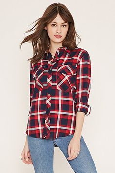 Button-Tab Plaid Shirt