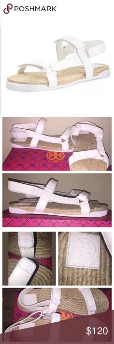 New Tory Burch Bumper Espadrille Sandal Sz 10.5 New in box (shoe description on box does not match shoe style but is a Tory Burch box) Bumper sandals. Tagged a size 10.5 in white leather with a jute with rubber lined sole. Velcro closures make it easy to adjust the shoe fit. Originally $175 Tory Burch Shoes Sandals