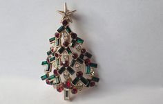 Nolan Miller Signed Nordstrom's Exclusive Christmas Tree Pin, RARE Book Piece by VintageUndertheSea on Etsy