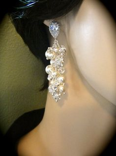 Pearl cluster earrings  Swarovski Ivory/cream by QueenMeJewelryLLC, $82.99