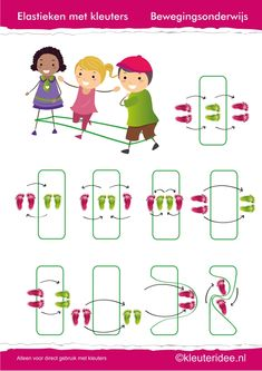 Gymles voor kleuters, eenvoudig elastieken les 1, juf Petra van kleuteridee.