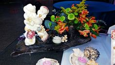 Seashell covered letter centerpiece