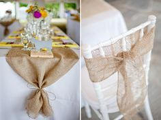 Love this burlap runner with tie and the coordinating chair!