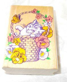 Inkadinkado 4147 cat rubber stamp mounted kitten in basket butterfly flowers
