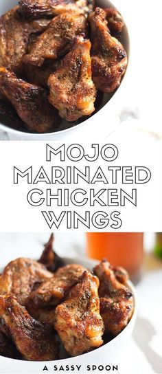 Chicken wings marinated in mojo (garlic citrus marinade) and spices then baked to crispy perfection! Your game day with have a little Cuban kick!