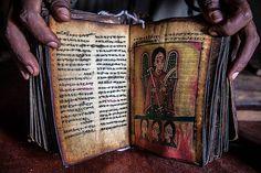 Christian Coptic Orthodox sacred book in the monastery on Lake Tana, Ethiopia