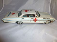 Vintage early 1960's Oldsmoble Ambulance Tin Toy