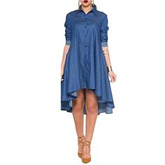 Eiffel Womens Asymmetric Hem A-Line Party Cocktail Shirt Denim Dress. Notched Neckline,Irregual Hem,A-Line Swing,With Pockets. Long T-Shirt Dress,Midi dress. Show Off Your Sexy Curves,Makes You More Attractive!. Suit for Different Occasions Such as Casual,Prom,Party,Clubwear,and Suit for All Season. Please refer to the LEFT Size Chart Picture,or check size details in the products Description before purchase (Not the Amazon size chart).
