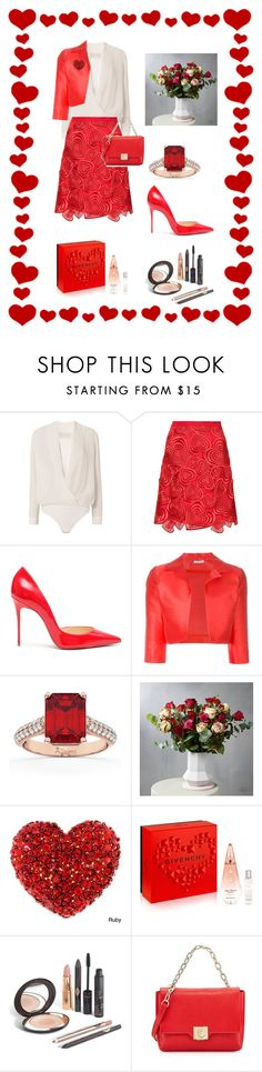 """""""Happy Valentine's Day"""" by miracle-child-1 ❤ liked on Polyvore featuring Michelle Mason, Christopher Kane, Christian Louboutin, P.A.R.O.S.H., Allurez, Givenchy and Versace"""