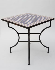 Moroccan Square Mosaic Table with an Iron Foldable Base Moroccan Furniture, Outdoor Furniture, Outdoor Decor, Moroccan Room, Moroccan Lighting, Metal Bending, Steel Table, Garden Table, Outdoor Living