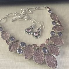 NEW Gorgeous Pink Moldavite African amethyst 925 Pink & purple African Amethyst in 925 sterling silver 28' pink Moldavite lab created beyond beautiful handcrafted total carat weight is 420 of pure beauty FREE earrings with purchase NWOT Jewelry Necklaces