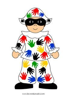 cartellone-arlecchino-mani- addobbi-carnevale-scuola Carnival Crafts, Kids Carnival, Mardi Gras, Crafts For Kids, Arts And Crafts, Kindergarten Lessons, Preschool Activities, Peter Pan, Puppets