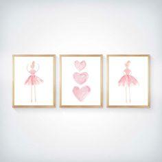 Pink Ballerina Set of 3  8x10 Girls Ballet by OutsideInArtStudio